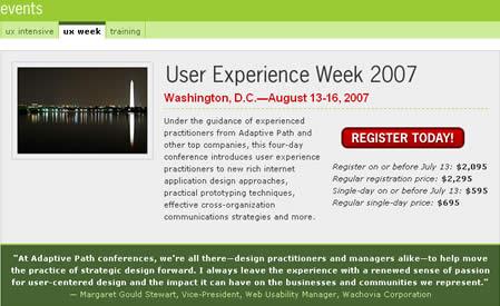 user experience week 2007
