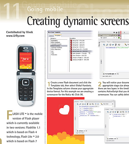"my first article on ""Creating dynamic screensaver in Flash lite"""
