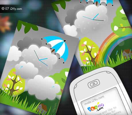 Refreshing rain: Flash lite clock Screensaver & wallpaper :)
