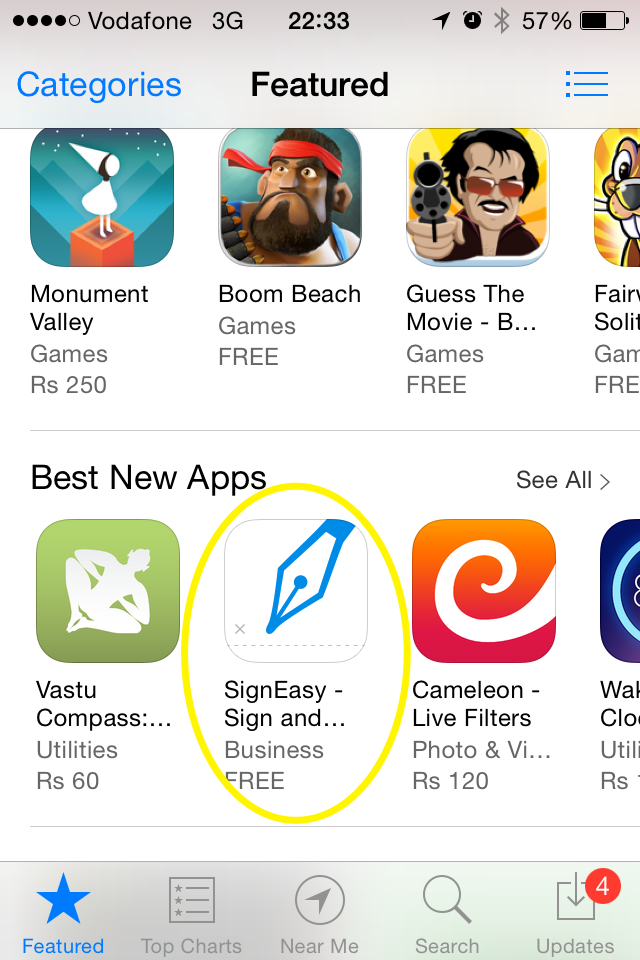 Signeasy featured in apple